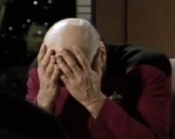 Picard Double Facepalm | :) | image tagged in picard double facepalm | made w/ Imgflip meme maker