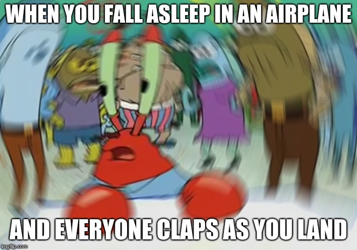 Mr Krabs Blur Meme |  WHEN YOU FALL ASLEEP IN AN AIRPLANE; AND EVERYONE CLAPS AS YOU LAND | image tagged in memes,mr krabs blur meme | made w/ Imgflip meme maker