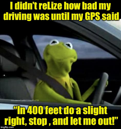 "Frog Week |  I didn't reLize how bad my driving was until my GPS said; ""In 400 feet do a slight right, stop , and let me out!"" 