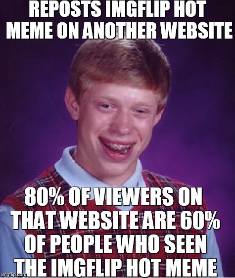 Failed to repost | REPOSTS IMGFLIP HOT MEME ON ANOTHER WEBSITE 80% OF VIEWERS ON THAT WEBSITE ARE 60% OF PEOPLE WHO SEEN THE IMGFLIP HOT MEME | image tagged in memes,bad luck brian,reposts | made w/ Imgflip meme maker