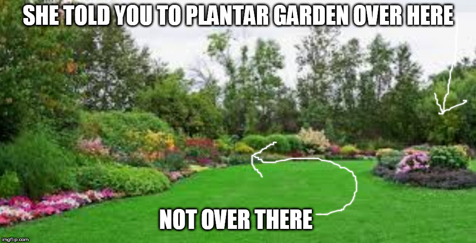 SHE TOLD YOU TO PLANTAR GARDEN OVER HERE NOT OVER THERE | made w/ Imgflip meme maker