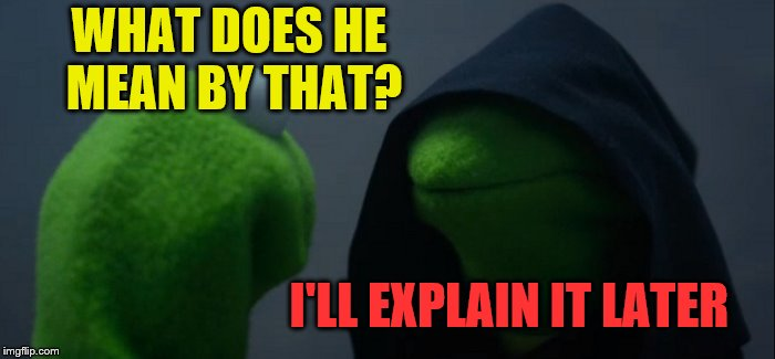 Evil Kermit Meme | WHAT DOES HE MEAN BY THAT? I'LL EXPLAIN IT LATER | image tagged in memes,evil kermit | made w/ Imgflip meme maker