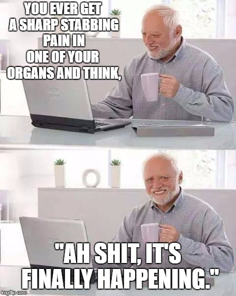 "Hide the Pain Harold Meme | YOU EVER GET A SHARP STABBING PAIN IN ONE OF YOUR  ORGANS AND THINK, ""AH SHIT, IT'S FINALLY HAPPENING."" 