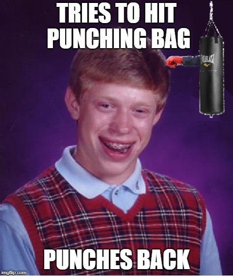 They don't call it a punching bag for nothing | TRIES TO HIT PUNCHING BAG PUNCHES BACK | image tagged in memes,bad luck brian,dank memes,bad puns,funny,workout | made w/ Imgflip meme maker