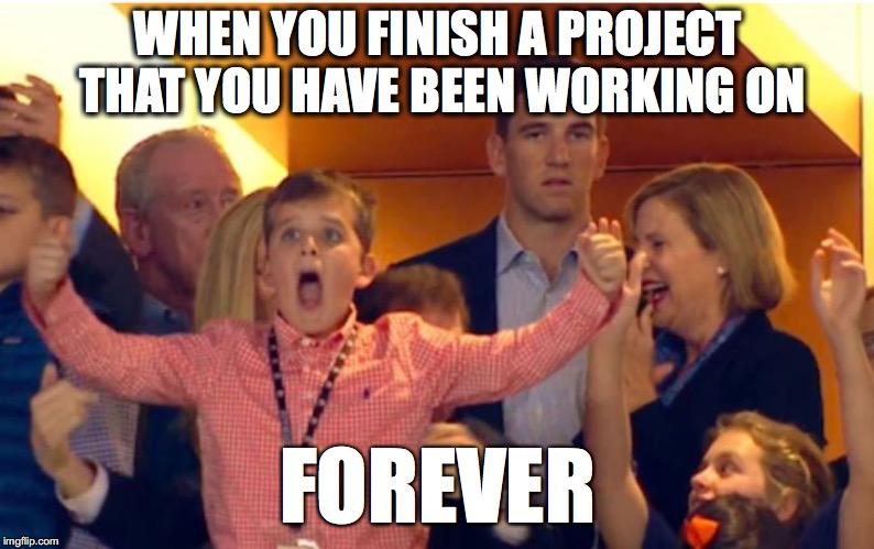 WHEN YOU FINISH A PROJECT THAT YOU HAVE BEEN WORKING ON FOREVER | image tagged in i'm so happy for you | made w/ Imgflip meme maker