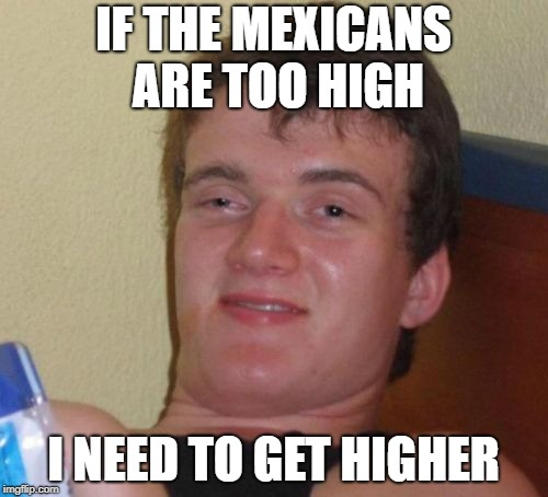 IF THE MEXICANS ARE TOO HIGH I NEED TO GET HIGHER | made w/ Imgflip meme maker