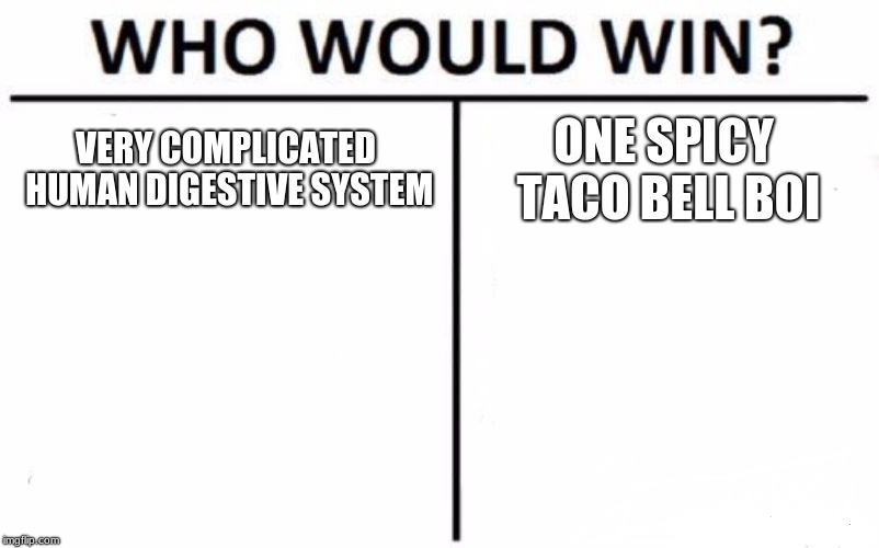 Who Would Win? Meme | VERY COMPLICATED HUMAN DIGESTIVE SYSTEM ONE SPICY TACO BELL BOI | image tagged in memes,who would win | made w/ Imgflip meme maker