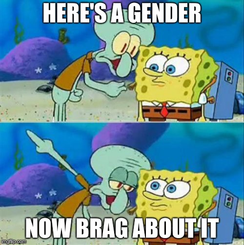 Spongebob gets a gender | HERE'S A GENDER NOW BRAG ABOUT IT | image tagged in memes,talk to spongebob | made w/ Imgflip meme maker