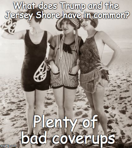 Beach | What does Trump and the Jersey Shore have in common? Plenty of bad coverups | image tagged in beach | made w/ Imgflip meme maker
