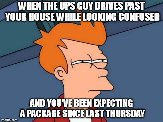Futurama Fry Meme | WHEN THE UPS GUY DRIVES PAST YOUR HOUSE WHILE LOOKING CONFUSED AND YOU'VE BEEN EXPECTING A PACKAGE SINCE LAST THURSDAY | image tagged in memes,futurama fry | made w/ Imgflip meme maker