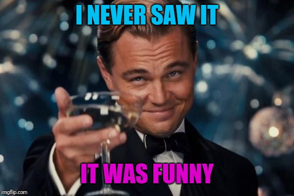 Leonardo Dicaprio Cheers Meme | I NEVER SAW IT IT WAS FUNNY | image tagged in memes,leonardo dicaprio cheers | made w/ Imgflip meme maker