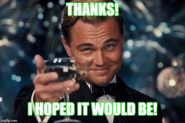 Leonardo Dicaprio Cheers Meme | THANKS! I HOPED IT WOULD BE! | image tagged in memes,leonardo dicaprio cheers | made w/ Imgflip meme maker