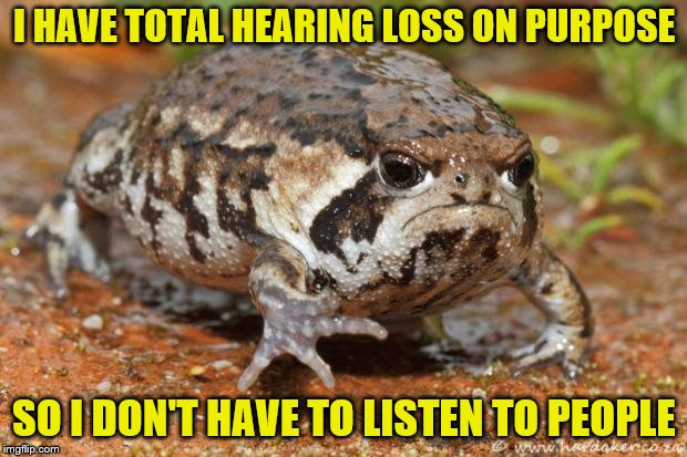 I HAVE TOTAL HEARING LOSS ON PURPOSE SO I DON'T HAVE TO LISTEN TO PEOPLE | made w/ Imgflip meme maker