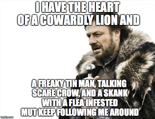 Brace Yourselves X is Coming Meme | I HAVE THE HEART OF A COWARDLY LION AND A FREAKY TIN MAN, TALKING SCARE CROW, AND A SKANK WITH A FLEA INFESTED MUT KEEP FOLLOWING ME AROUND | image tagged in memes,brace yourselves x is coming | made w/ Imgflip meme maker