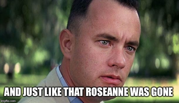Forest Gump | AND JUST LIKE THAT ROSEANNE WAS GONE | image tagged in forest gump | made w/ Imgflip meme maker