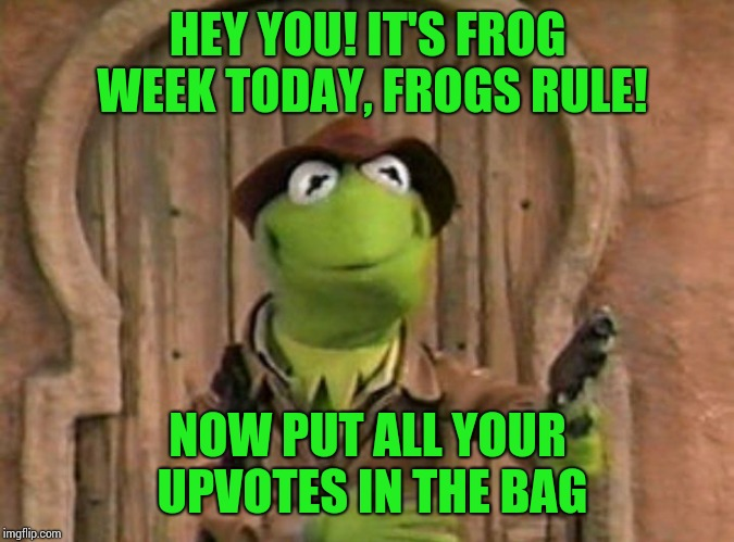 Frog Week, 4-10 june, a JBmemegeek and giveuahint event | HEY YOU! IT'S FROG WEEK TODAY, FROGS RULE! NOW PUT ALL YOUR UPVOTES IN THE BAG | image tagged in memes,kermit the frog,frog week | made w/ Imgflip meme maker
