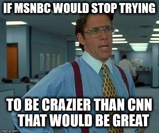 Which is more fake? | IF MSNBC WOULD STOP TRYING TO BE CRAZIER THAN CNN   THAT WOULD BE GREAT | image tagged in memes,that would be great,msnbc sucks,cnn sucks | made w/ Imgflip meme maker