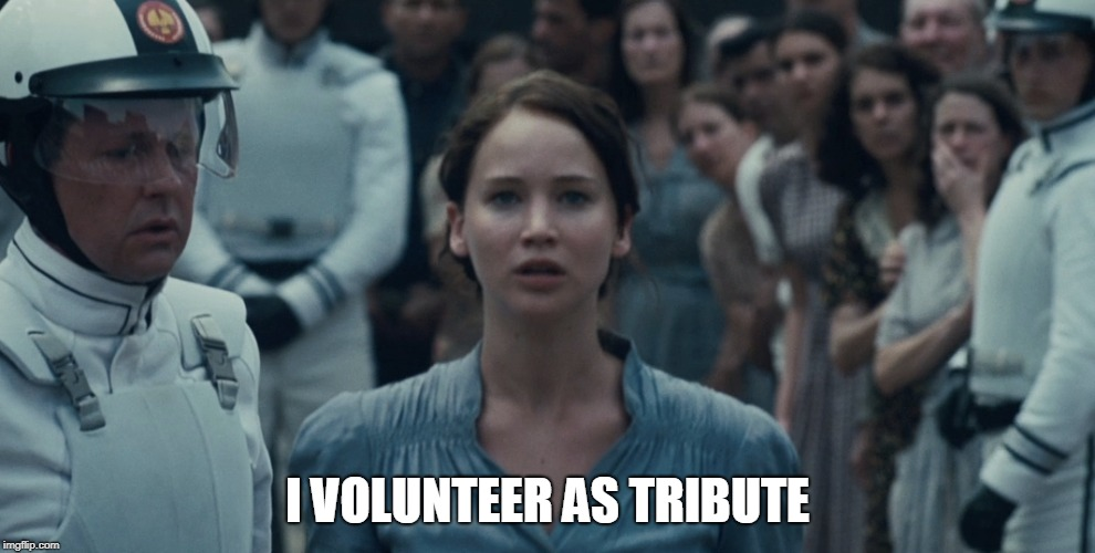 I volunteer as tribute | I VOLUNTEER AS TRIBUTE | image tagged in vounteer,tribute,the hunger games | made w/ Imgflip meme maker