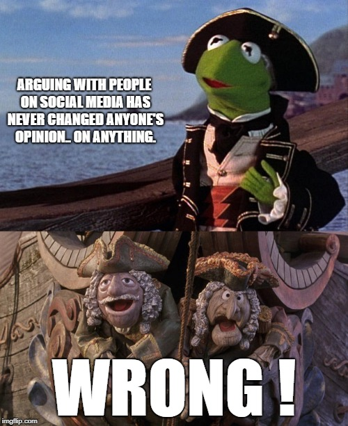 Frog Week #TrueStory | ARGUING WITH PEOPLE ON SOCIAL MEDIA HAS NEVER CHANGED ANYONE'S OPINION.. ON ANYTHING. WRONG ! | image tagged in kermit,muppets,old guys,social media | made w/ Imgflip meme maker