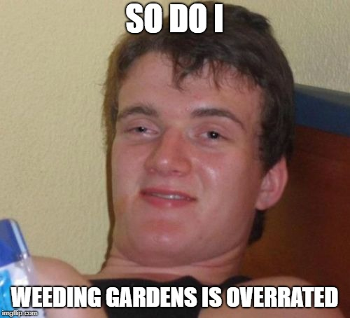 SO DO I WEEDING GARDENS IS OVERRATED | made w/ Imgflip meme maker