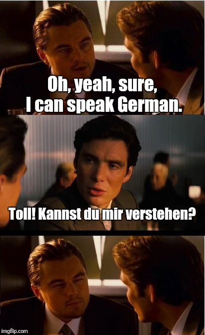 Inception Meme | Oh, yeah, sure, I can speak German. Toll! Kannst du mir verstehen? | image tagged in memes,inception | made w/ Imgflip meme maker