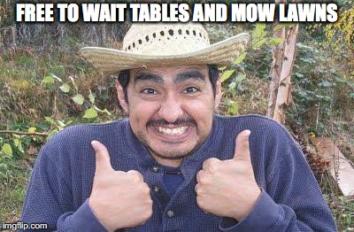 FREE TO WAIT TABLES AND MOW LAWNS | made w/ Imgflip meme maker