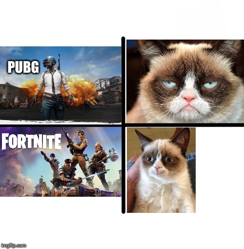 Battle royales | PUBG | image tagged in memes,pubg,fortnite,grumpy cat | made w/ Imgflip meme maker
