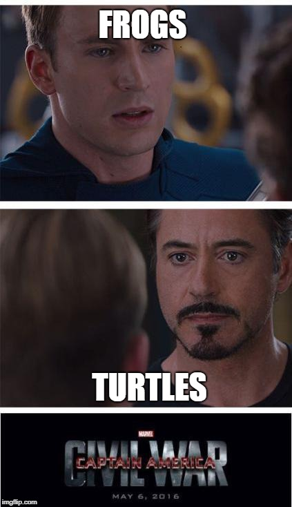 Marvel Civil War 1 Meme | FROGS TURTLES | image tagged in memes,marvel civil war 1 | made w/ Imgflip meme maker
