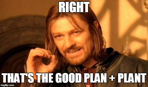 One Does Not Simply Meme | RIGHT THAT'S THE GOOD PLAN + PLANT | image tagged in memes,one does not simply | made w/ Imgflip meme maker