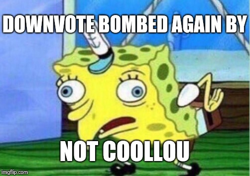 Mocking Spongebob Meme | DOWNVOTE BOMBED AGAIN BY NOT COOLLOU | image tagged in memes,mocking spongebob | made w/ Imgflip meme maker