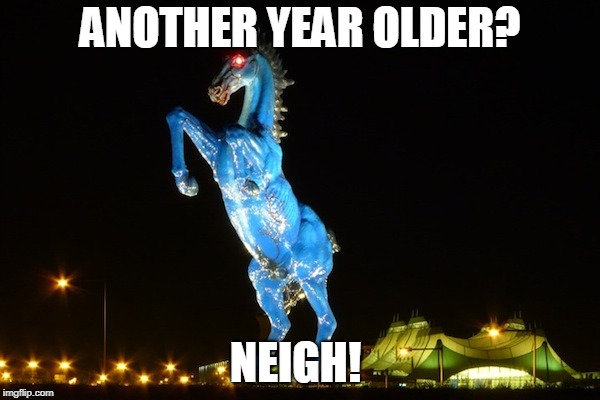 ANOTHER YEAR OLDER? NEIGH! | image tagged in blucifer | made w/ Imgflip meme maker