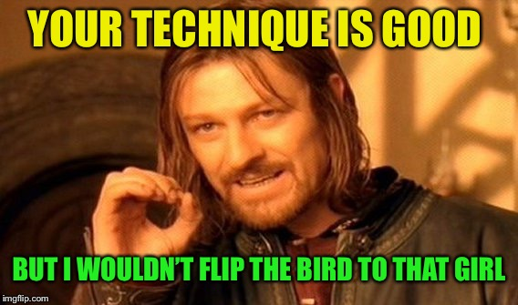 One Does Not Simply Meme | YOUR TECHNIQUE IS GOOD BUT I WOULDN'T FLIP THE BIRD TO THAT GIRL | image tagged in memes,one does not simply | made w/ Imgflip meme maker