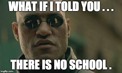What if I told you, there is no school? | WHAT IF I TOLD YOU . . . THERE IS NO SCHOOL . | image tagged in school,no school,end of year,semester,finish,matrix | made w/ Imgflip meme maker