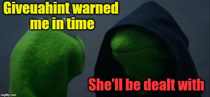 Evil Kermit Meme | Giveuahint warned me in time She'll be dealt with | image tagged in memes,evil kermit | made w/ Imgflip meme maker