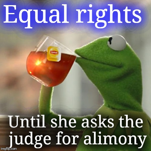 Equal what? | Equal rights Until she asks the judge for alimony | image tagged in memes,but thats none of my business,kermit the frog | made w/ Imgflip meme maker