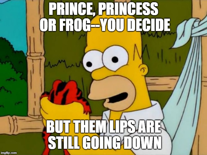 PRINCE, PRINCESS OR FROG--YOU DECIDE BUT THEM LIPS ARE STILL GOING DOWN | image tagged in frog week,funny,funny memes | made w/ Imgflip meme maker