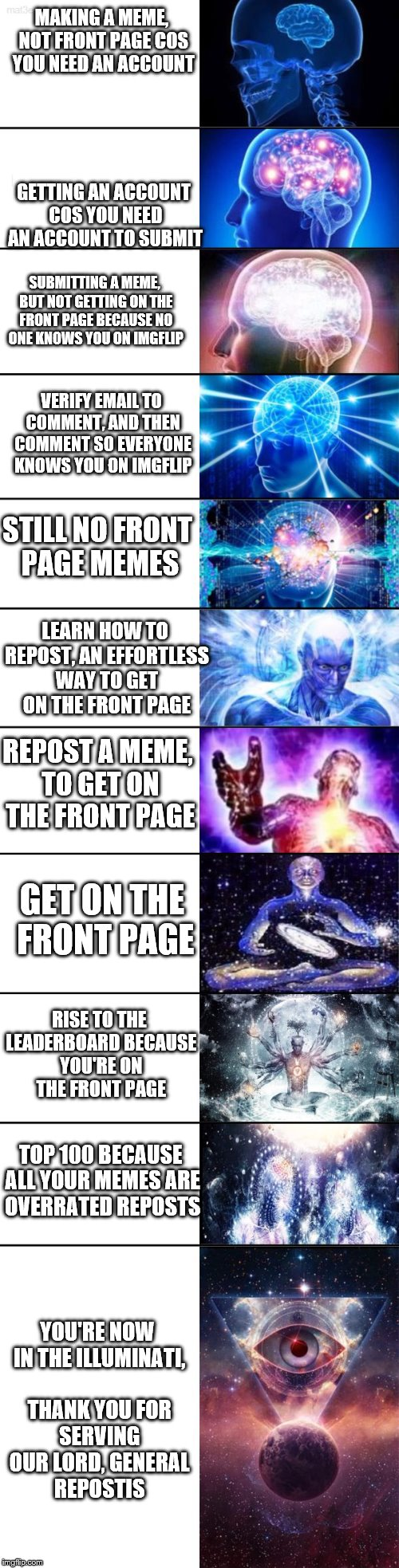 The how to join the Illuminati in 5 easy steps | MAKING A MEME, NOT FRONT PAGE COS YOU NEED AN ACCOUNT GETTING AN ACCOUNT COS YOU NEED AN ACCOUNT TO SUBMIT SUBMITTING A MEME, BUT NOT GETTIN | image tagged in extended expanding brain,memes,expanding brain,illuminati | made w/ Imgflip meme maker