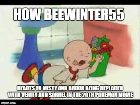 Caillou's Tantrum | HOW BEEWINTER55 REACTS TO MISTY AND BROCK BEING REPLACED WITH VERITY AND SORREL IN THE 20TH POKEMON MOVIE | image tagged in caillou's tantrum | made w/ Imgflip meme maker