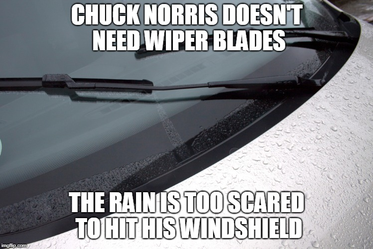 Chuck Norris wiper blades | CHUCK NORRIS DOESN'T NEED WIPER BLADES THE RAIN IS TOO SCARED TO HIT HIS WINDSHIELD | image tagged in chuck norris,wiper blades,memes | made w/ Imgflip meme maker