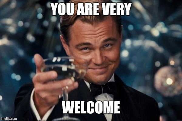 Leonardo Dicaprio Cheers Meme | YOU ARE VERY WELCOME | image tagged in memes,leonardo dicaprio cheers | made w/ Imgflip meme maker