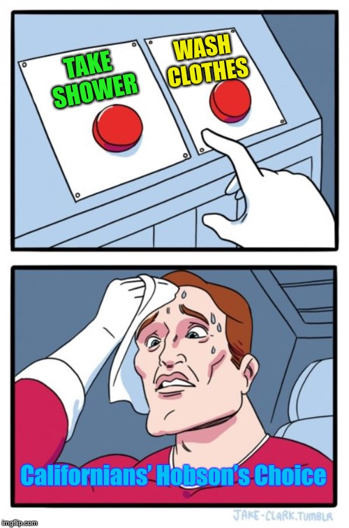 Which water use will they pick today? | TAKE SHOWER WASH CLOTHES Californians' Hobson's Choice | image tagged in memes,two buttons,california,water laws,shower,wash clothes | made w/ Imgflip meme maker