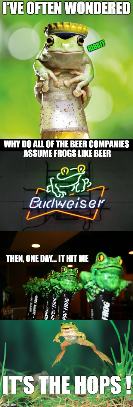 Bud. Wei. Ser. | RIBBIT | image tagged in frogs,beer,drinking problem,frog week,budweiser,ribbit | made w/ Imgflip meme maker