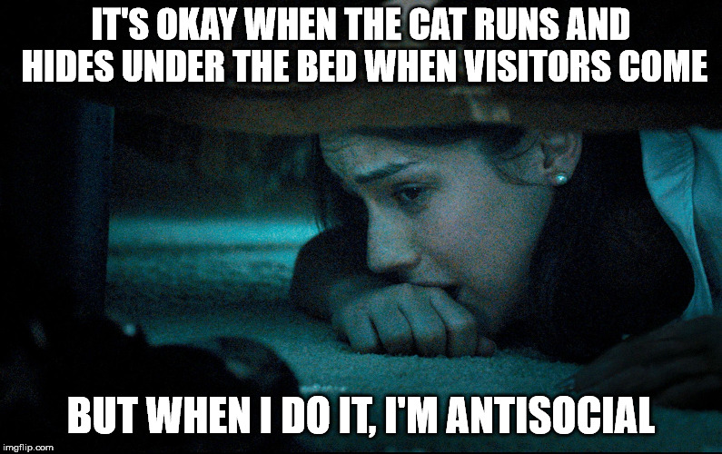 girl hiding under bed | IT'S OKAY WHEN THE CAT RUNS AND HIDES UNDER THE BED WHEN VISITORS COME BUT WHEN I DO IT, I'M ANTISOCIAL | image tagged in girl hiding under bed | made w/ Imgflip meme maker
