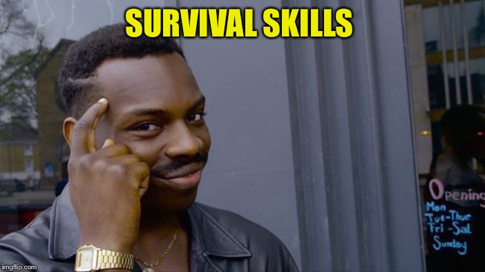Roll Safe Think About It Meme | SURVIVAL SKILLS | image tagged in memes,roll safe think about it | made w/ Imgflip meme maker
