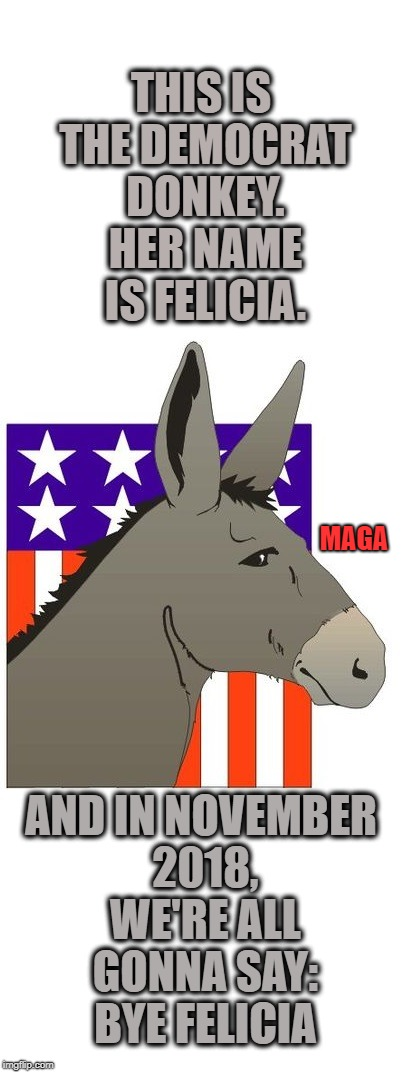Donkeys always get beat. | THIS IS THE DEMOCRAT DONKEY. HER NAME IS FELICIA. AND IN NOVEMBER 2018, WE'RE ALL GONNA SAY: BYE FELICIA MAGA | image tagged in democrats,democrat donkey,bye felicia,political meme,political humor | made w/ Imgflip meme maker