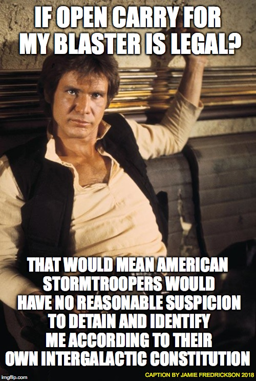 Han Solo Meme | IF OPEN CARRY FOR MY BLASTER IS LEGAL? THAT WOULD MEAN AMERICAN STORMTROOPERS WOULD HAVE NO REASONABLE SUSPICION TO DETAIN AND IDENTIFY ME A | image tagged in memes,han solo | made w/ Imgflip meme maker