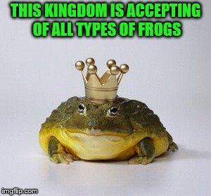 THIS KINGDOM IS ACCEPTING OF ALL TYPES OF FROGS | made w/ Imgflip meme maker