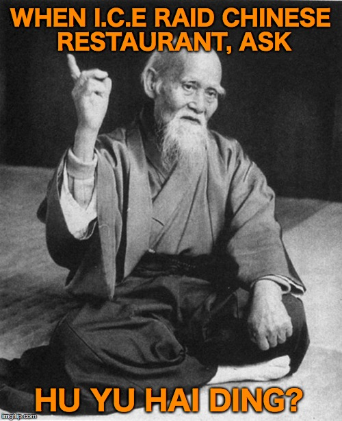 WHEN I.C.E RAID CHINESE RESTAURANT, ASK HU YU HAI DING? | made w/ Imgflip meme maker