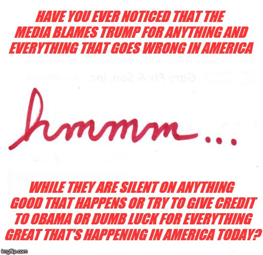 hmmm...  Media Blames Trump For Anything That Goes Wrong in America and Give Him Zero Credit For The Great Things Happening | HAVE YOU EVER NOTICED THAT THE MEDIA BLAMES TRUMP FOR ANYTHING AND EVERYTHING THAT GOES WRONG IN AMERICA WHILE THEY ARE SILENT ON ANYTHING G | image tagged in hmmm,memes,political meme,president trump,liberal bias,cnn fake news | made w/ Imgflip meme maker