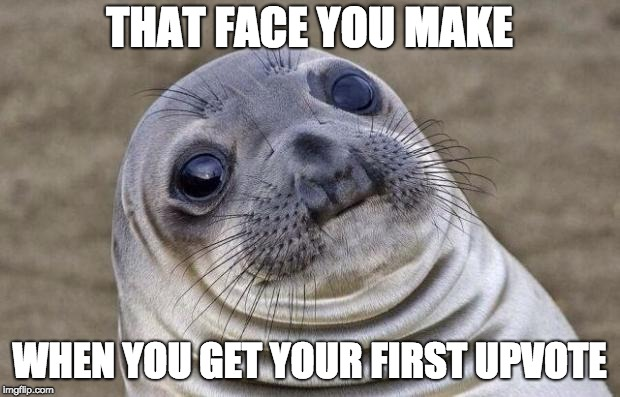 FINALLY!!! | THAT FACE YOU MAKE WHEN YOU GET YOUR FIRST UPVOTE | image tagged in memes,awkward moment sealion,funny,seal,funny stuff | made w/ Imgflip meme maker